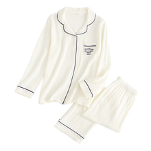 Novo delicado simples 100% crepe algodão sleepwear feminino conjuntos de pijama manga longa cor pura japonês casual pijamas