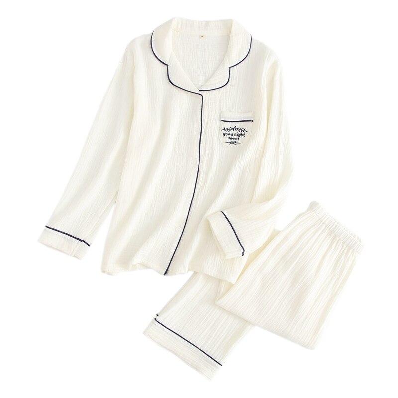 delicate simple 100% crape cotton sleepwear women pure color   pajama     sets   long sleeve Fresh casual cozy homewear women pyjamas