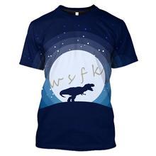 цена на WSFK Hommes T-Shirt D'été Décontracté Sweat 3D Imprimer Dinosaure Col Rond Anime Street Manches Courtes