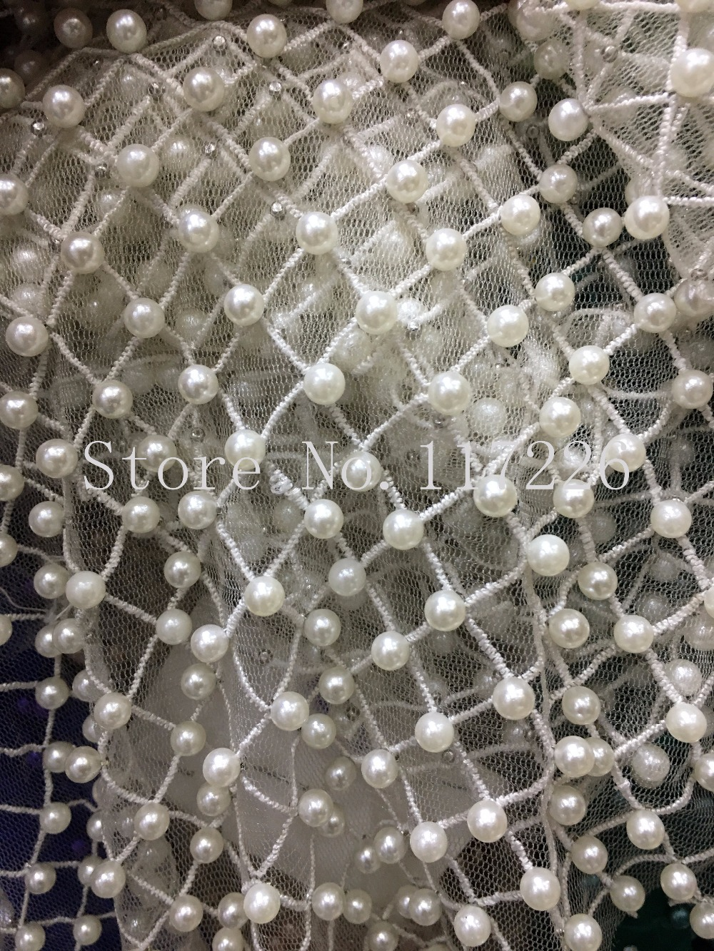 Newest JRB 12144 african Embroidered tulle mesh fabric with full beads super quality lace fabric for party dress
