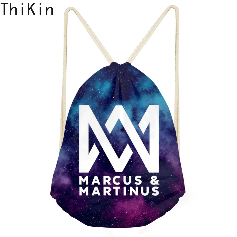 THIKIN Marcus and Martinus Custom Logo Drawstring Bag Mochila Hip Hop Fans Fashion Travel Women Bag