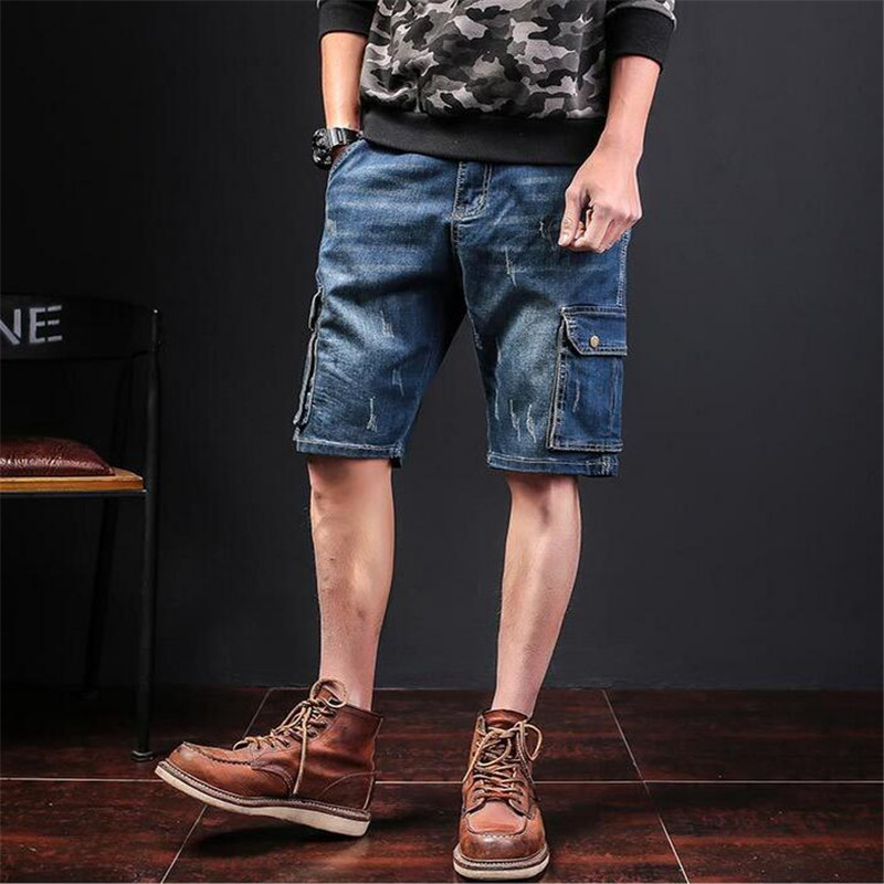 2018 Summer Denim Shorts Jeans Men Cargo Shorts Big Size Fashion Multi Pocket Denim Short Men Jeans Shorts Homme A3502 charter club new navy blue women s size 14 seamed two pocket cargo shorts $40