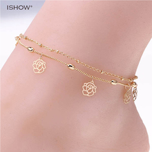 Double Rows Ankle Hollow Rose Flower Chain Anklet Foot Leg Chain Foot Jewelry for women Barefoot