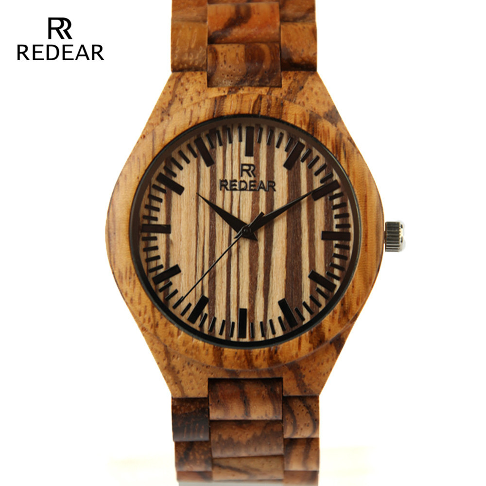 REDEAR New Design Full Zebra Wood Case Quartz Watches Men Luxury Brand Wooden Band Business Watch For Men Relogio Masculino natural hand made classic red wooden men quartz watch bracelet clase full wood band simple scale dial cool gift reloj masculino