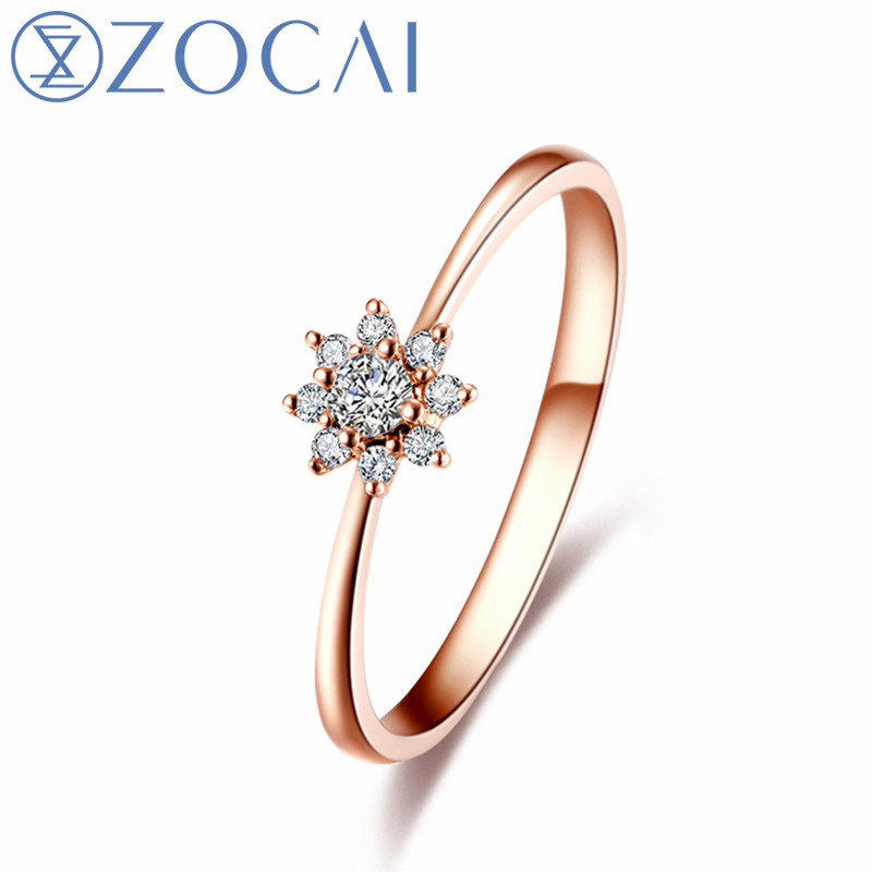 ZOCAI Style Ring Sun flower Total 0.12 CT Diamond Ring with Real 18K Rose Gold (Au750) W80109T_1 new pure au750 rose gold love ring lucky cute letter ring 1 13 1 23g hot sale