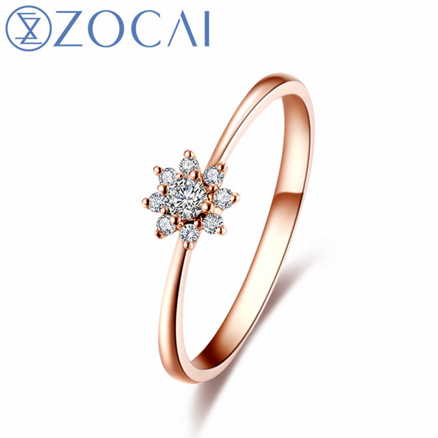 ZOCAI Style Ring Sun flower Total 012 CT Diamond Ring with Real 18K