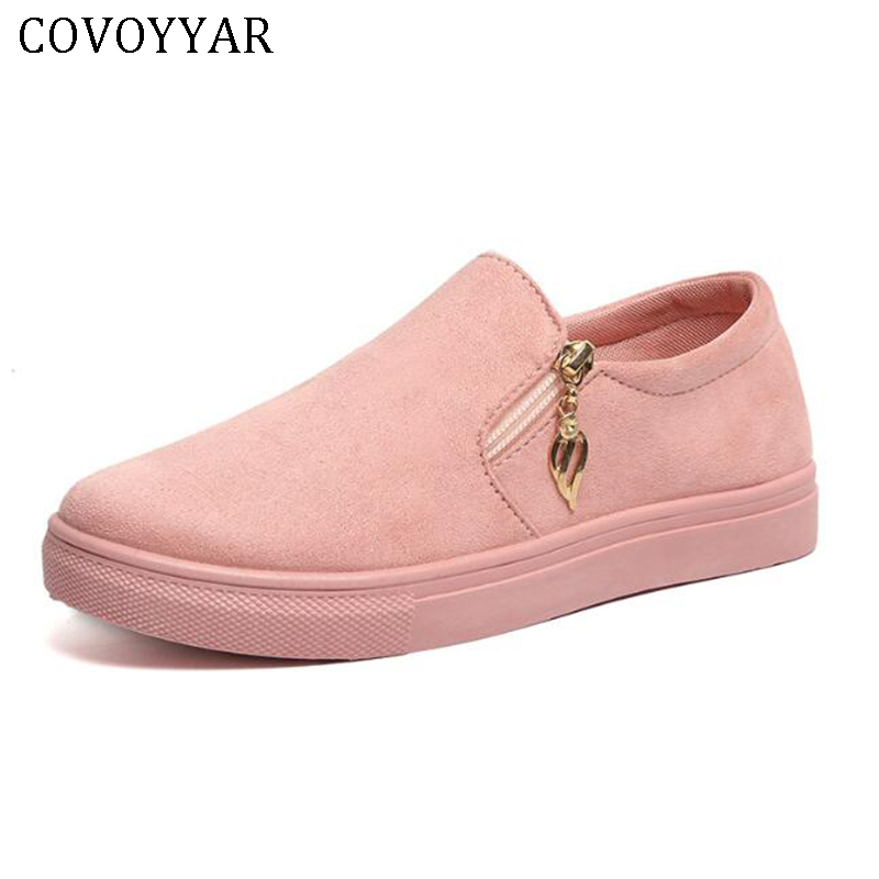 COVOYYAR 2019 Solid Casual Women Shoes Flat Platform Sneakers Spring Autumn Fashion Loafers Slip On Canvas Lady Shoes WSN295
