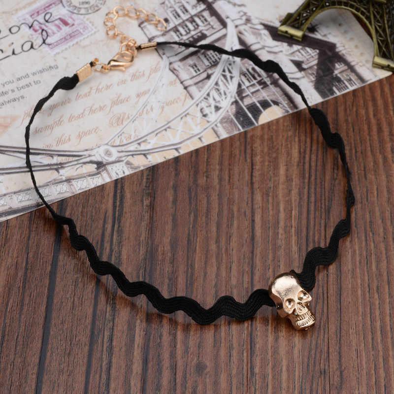 New Fashion Skull Pendant Necklace Lace Torques Vintage Wedding Choker bib Necklace Women
