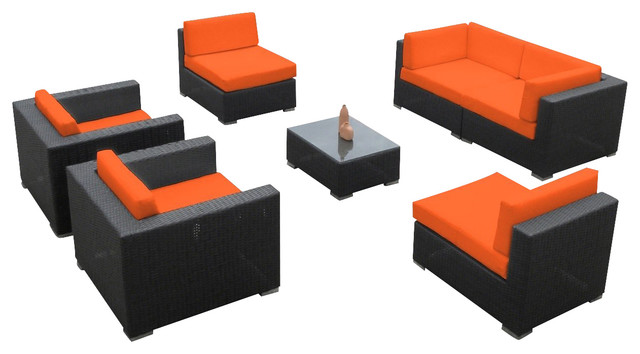 2017 Outdoor Wicker Sofa Sectional 7 Piece Resin Couch Set
