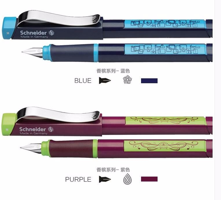Free Shipping Germany Schneider Fountain Pen New Champagne Series Pen 0.5mm Adult Student Calligraphy Pen Gift Box germany schneider fountain pen student calligraphy pen children correcting the posture writing pen 0 5mm 6 colors optional