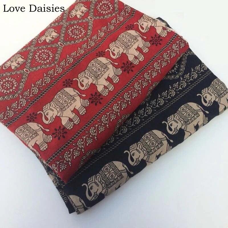 tissu en coton et lin rouge et noir tissu a fleurs d elephant de thailande retro pour bricolage nappe rideau coussins vetements artisanat