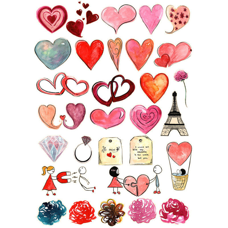 2PCS Kawaii Couples Red Love Heart DIY Decor Scrapbooking ...