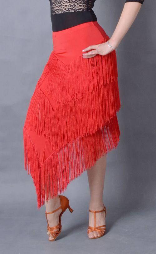 Danse latine multi couches franges inclinées gland longue jupe latine S12043