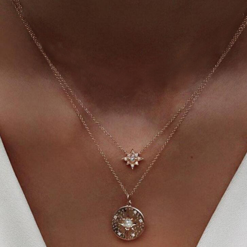 Tocona 1pc Boho Round Pendant Star Necklace Gold Chain Alloy Choker Necklace for Women Statement Necklace Collar Femme 6418 6419
