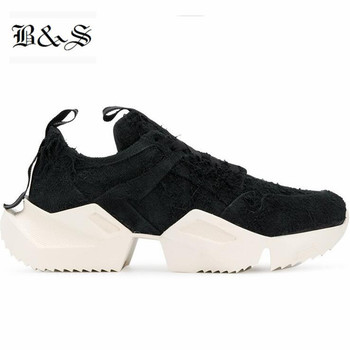 Black& Street Muffin bottom Fashion trainer sneakers suede leather lace Up casual Boots 2019 NEW winter Black warrior shoes