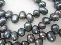 ddh001905 loop necklace black freshwater pearl rice beads 60