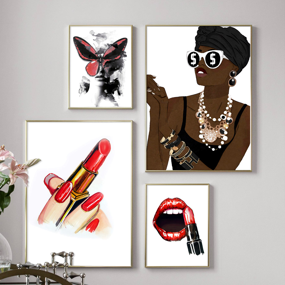 Fashion Girl Model Lipstick Butterfly Wall Art Canvas Painting Nordic Posters And Prints Pictures For Living Room Decor