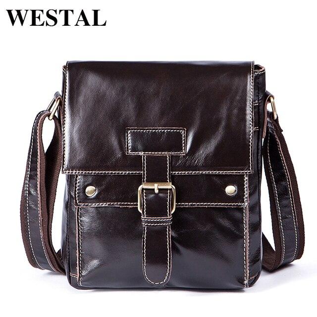 WESTAL Genuine Leather Men Bags casual men's Messenger Bag flap Shoulder Crossbody Bags male men leather bag handbags 9040