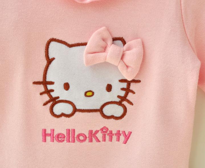 HTB1m QDJFXXXXb0XFXXq6xXFXXXF - 2 Pcs Newborn Girl Organic Cotton Hello Kitty Romper Set Baby Cute Pink Jumpsuit with Hat New Born Ruffled Collar Bowknot Outfit