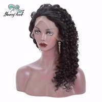 Young Look Brazilian Hair Curly Wig Deep Wave 13*4 Lace Frontal Wig With Baby Hair Natural Color Remy Hair Extensions For Women