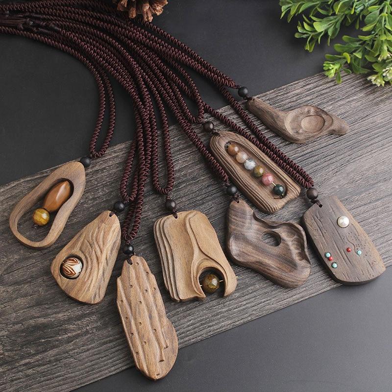 WEIYU סדיר גיאומטרי סנדל עץ תליון שרשרת ארוך שרשרת בעבודת יד תכשיטי בציר אבן חרוזים שרשרת לנשים מתנה