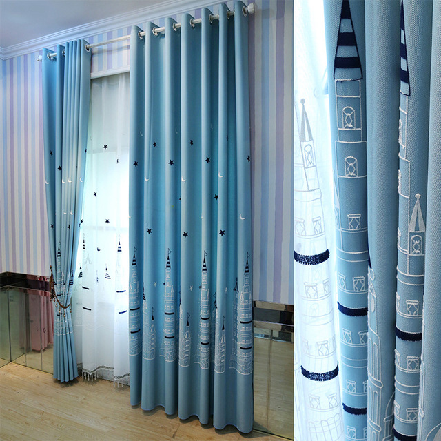 High Quality Castle Tower Embroidered Blue Curtains Children Faux Linen Child Curtains  For Living Room Cartoon Window Curtains