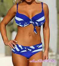 Sexy New blue white Classic stripe bikini SWIMSUIT SWIMWEAR size M L XL XXL Free shipping within 24hours