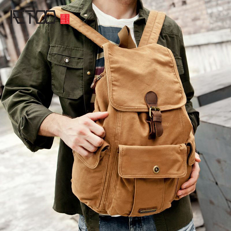 AETOO Europe and the United States canvas bag shoulder bag male and female backpack personality canvas bag wholesale  gzl 2017 female backpack europe and the united states simple style fashion backpack college backpack bucket bag leisure package