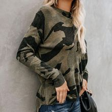 Women Ladies Blouse Oversized Loose Casual Camouflage Camo Top Long Sleeve Tops