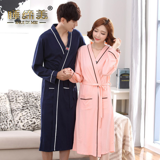 Couple mens womens matching japanese kimono style bath robe cotton ...