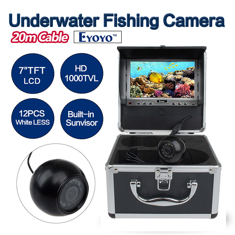Eyoyo Original 20m Underwater Fishing Camera HD 1000TVL Video Camera Fish Finder 7 inch LCD Color Monitor 12PCS White LED цена