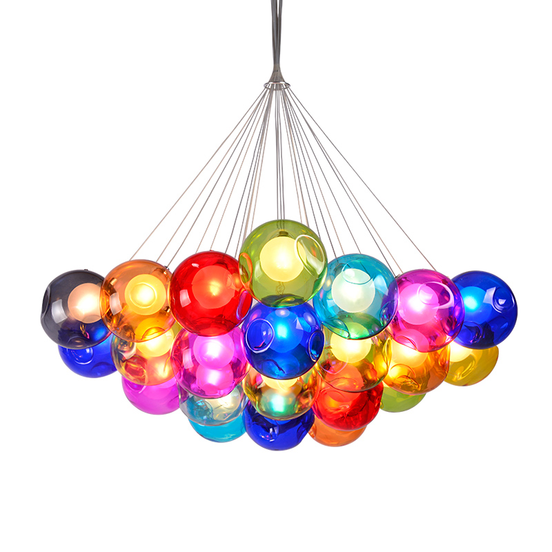 Modern creative design LED colorful glass pendant lights for living room dining room G4 led bubble glass Hanging lamp Fixtures modern creative led pendant light clear glass living dining room bedroom home decoration toolery bubble led hanging lamp fixture