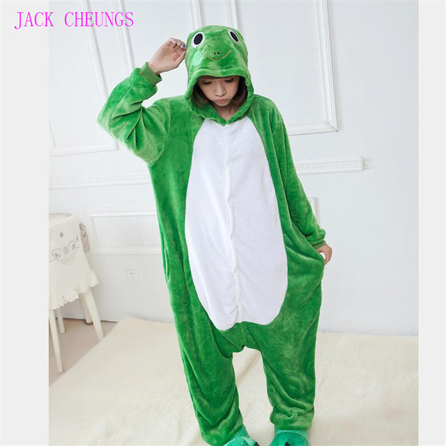 Кигуруми лягушка комбинезоны пижамы для взрослых милые Пижама для косплея  Для Животных Унисекс Мультфильм Аниме косплэй e464039aa9252