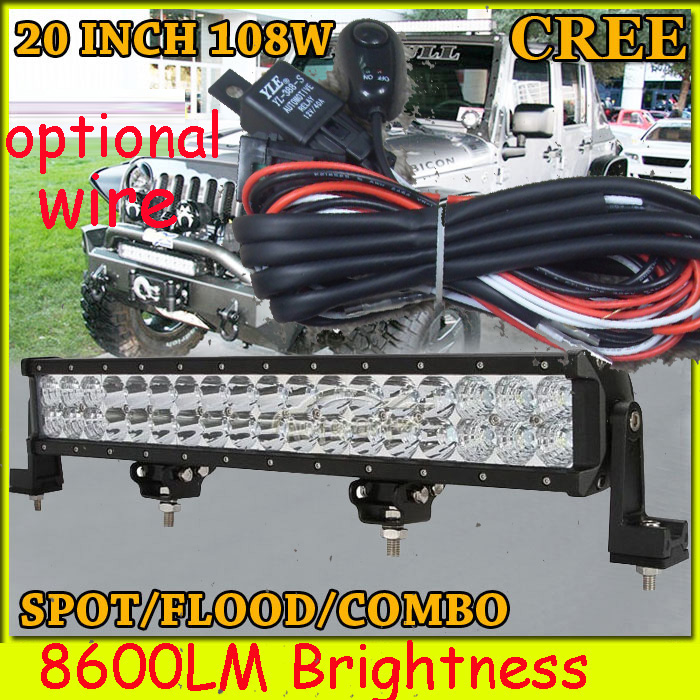 Free DHL/UPS/FEDEX ship! 20  108W,8600LM,10~30V,6500K,LED working bar;led offroad bar,Option wire harness,4x4,LED bar light free dhl ups fedex ship 41 150w 13000lm 10 30v 6500k led working bar led offroad bar option wire harness suv led bar light