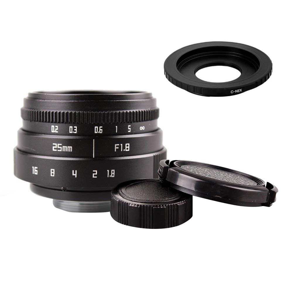 Mini 25mm F1.8 APS-C Television TV Lens CCTV Lens + 16mm C Mount Movie Lens for Sony E-Mount NEX Camera Lens Adapter цена