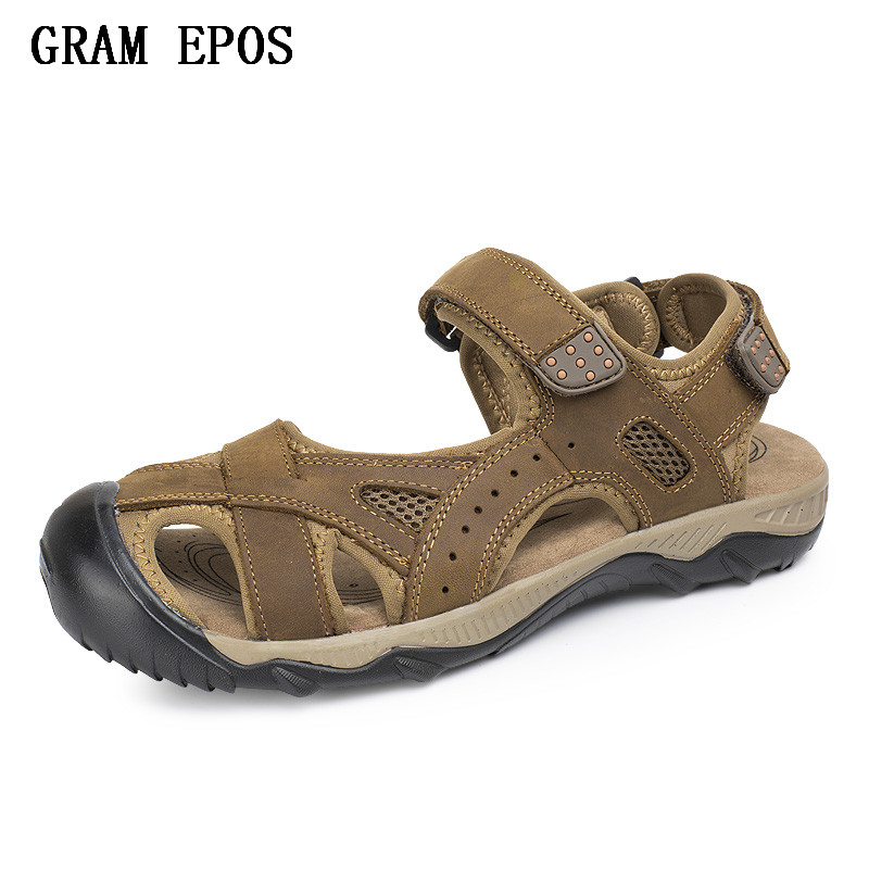 GRAM EPOS Hot Sale New Fashion Summer Leisure Beach Men Shoes High Quality Leather Sandals The Big Yards Mens Sandals Size38-48