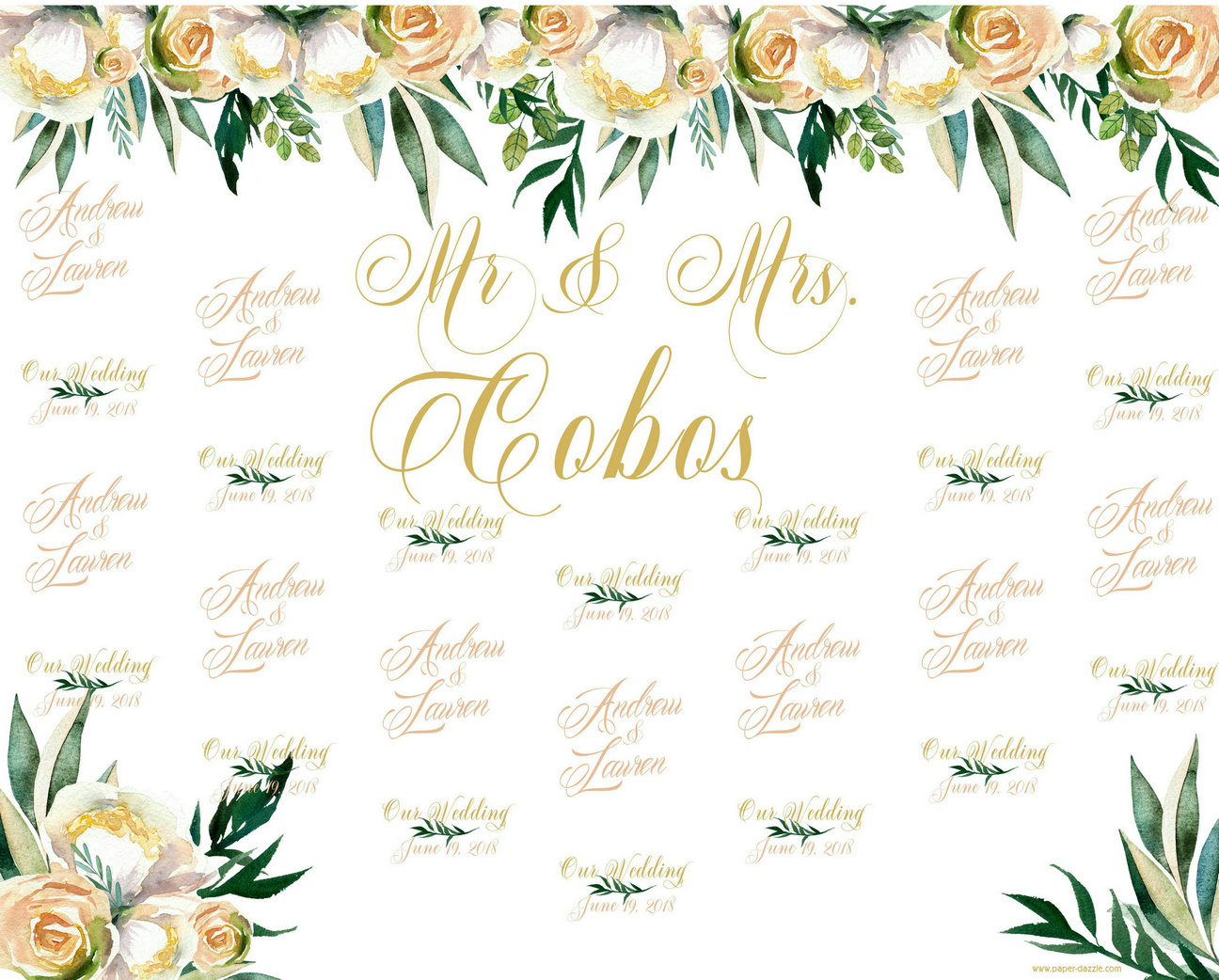 custom Pale Florals Flower Leaves photo studio background High quality Computer print wedding backdrops