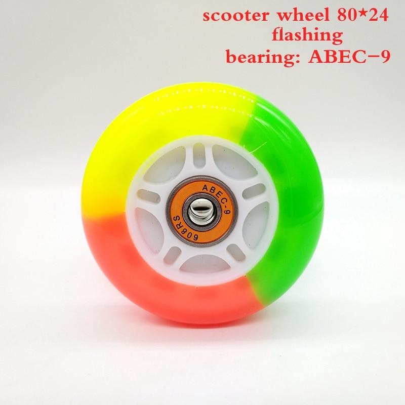 gratis forsendelse rullehjul scooter hjul belysning blinkende 80 mm 2 stk / lot
