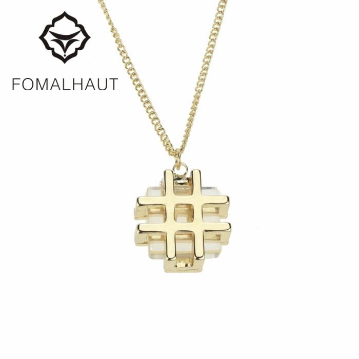 76d1ea61815e Fomalhaut oro de color   forma de cristal colgante largo tira Collares  declaración choker collar mujeres 2015 moda cx193