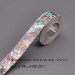 Image 1 - 20*20mm 1000 Uds cuadrado holograma diamante laser scatch off sticker para DIY juego fabricación de tarjetas, juegos secretos boda calcomanías de juego