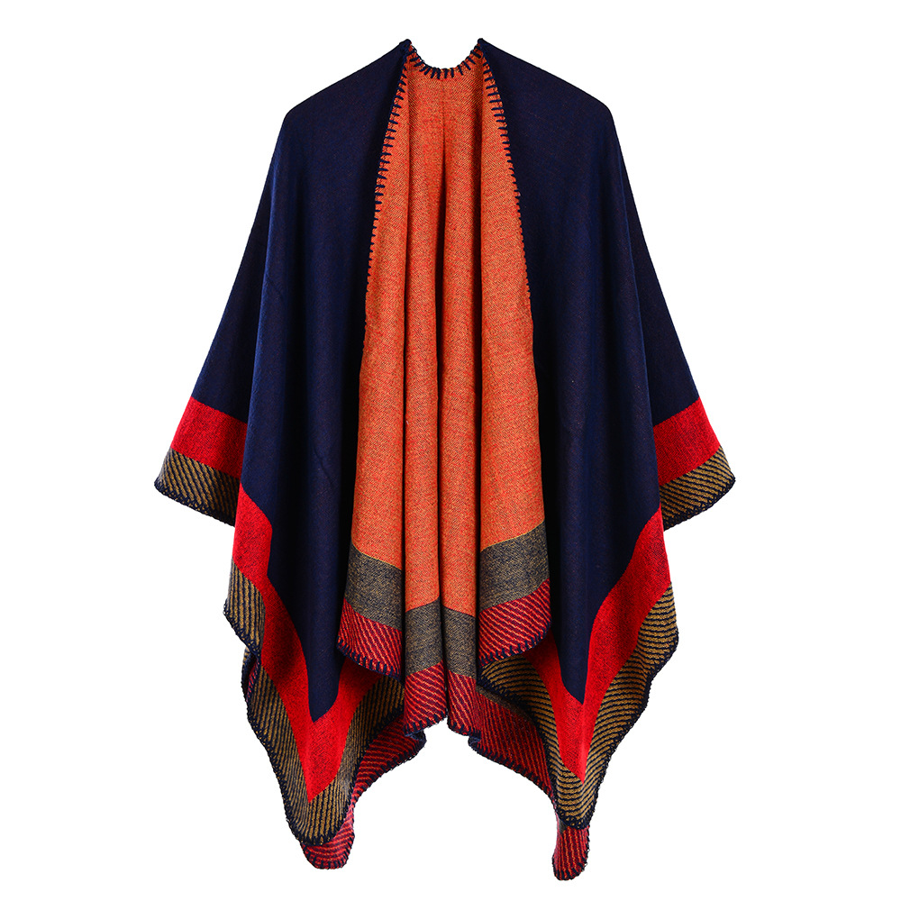 Lady Striped Imitation Cashmere Warm Capes Shawls Women Pashmina Knit Thicken Scarf Ponchos Autumn Winter Multistyles in Women 39 s Scarves from Apparel Accessories
