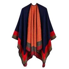 Lady Striped Imitation Cashmere Warm Capes Shawls Women Pashmina Knit Thicken Scarf Ponchos Autumn Winter Multistyles