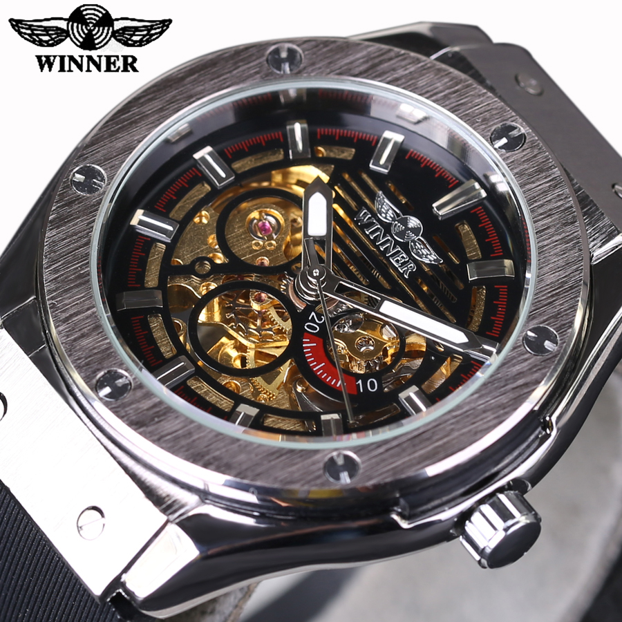 Automatic Watches 2016 New Fashion Military Stylish Winner Brand Mens Army Rubber Men Male Clock Sport Luxury Watch Skeleton luxury mechanical watches mens skeleton silicone rubber strap wristwatch military army sport brand sewor automatic watch 11color