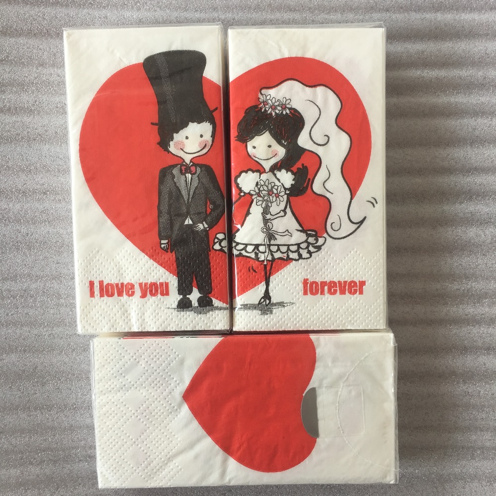 Wedding Napkin Paper Bride Groom Tissue Printed Flower Red Heart I Love You For Ever Small Handkerchief Party 3packs(30 Pcs)