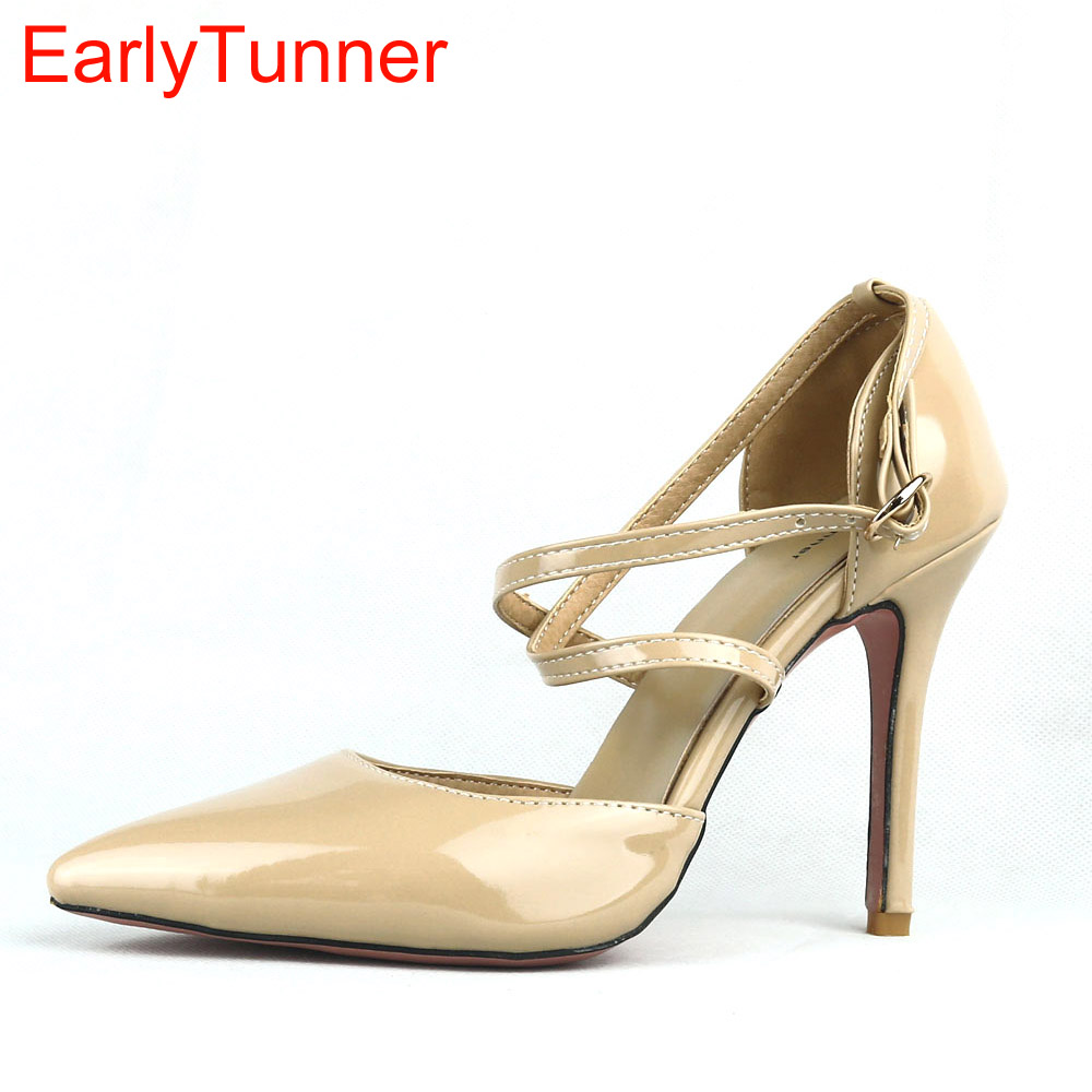 Brand New Hot Sales Elegant Apricot Black Glossy Women Sandals Yellow High Heel Lady Summer Shoes EMS31 Plus Big Size 12 31 47 armoire summer hot sales women sandals red black beige blue ladies sexy high heel shoes cross tied ahs 2 plus big size 31 43