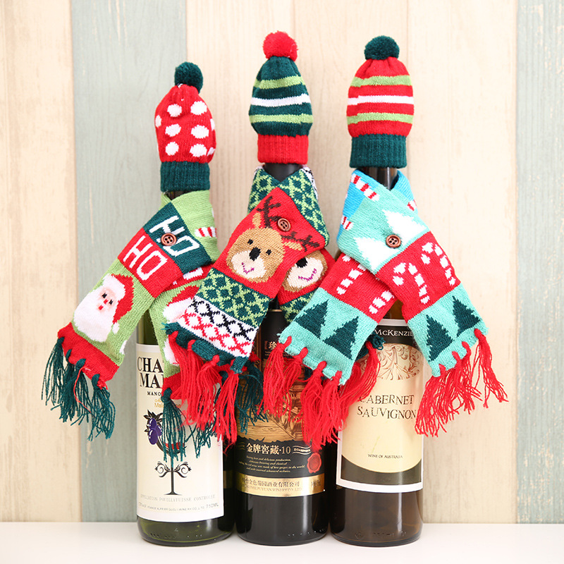 Scarf&Hat Knitted Red Wine Bottle Decoration Novelty Bear Tassel Santa Claus Hat For Christmas Decorations