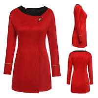Adult Womens Halloween Party Costume Dress Star Trek Costume Cosplay Female Blue Red Uniform Halloween Party