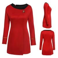 Adult Womens Halloween Party Costume Dress Star Trek Costume Cosplay Female Blue Red Uniform Halloween Party