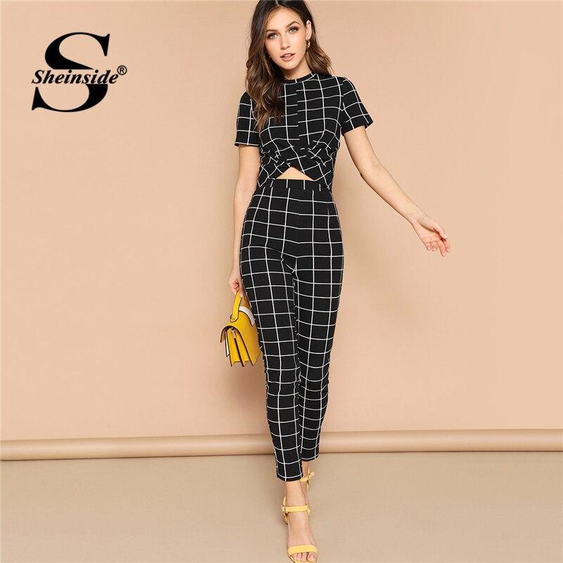 Sheinside Black Cross Wrap Bodycon TShirt Grid Two Piece Set Top And Pants 2019 Elegant Crop Tops Women Short Sleeve 2 Piece Set