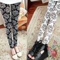 2016 Nuevas Mujeres de La Moda de Invierno Cálido Terciopelo Impreso Leggings de Invierno Fleece Forrado Pantalones Elásticos Gruesos Calientes